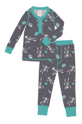 Sock Monkeys in Space Kids Rib Long John Set