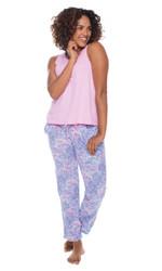 Lace Elephant Jersey Tank Pant Set (M01568)