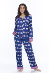 Navy Elephants Flannel Classic PJ (M01731)