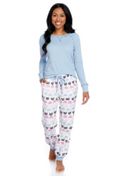 Cat Polka Dot Women's Flannel Jogger Set