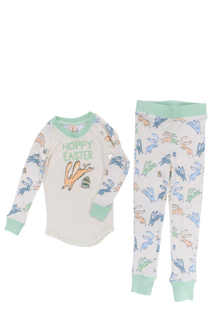 Heather Hoppy Easter Boys Bunnies Tight Fitting Rib Raglan Long John PJ Set