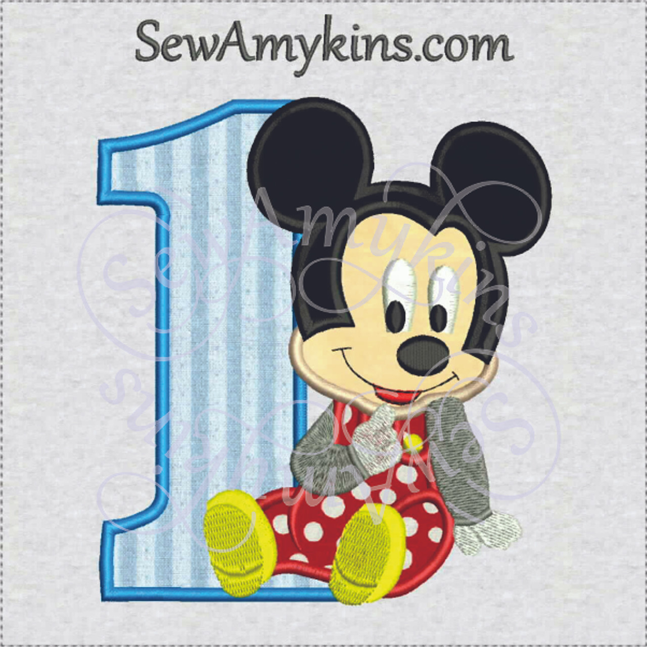 Baby Mickey Mouse 1st Birthday Boy First One Applique