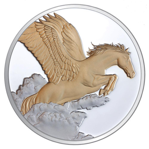 2014 Year of the Horse - Pegasus 1oz Silver Gilded Proof Tokelau Coin - Reverse