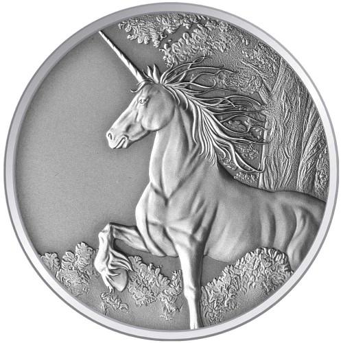 Creatures of Myth & Legend - Unicorn 1oz Silver Antique Tokelau Coin - Reverse