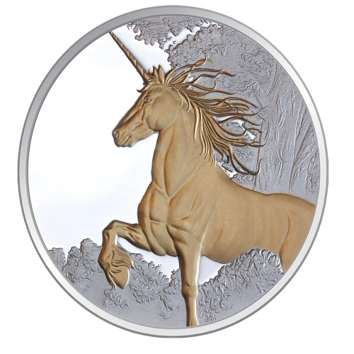 Creatures of Myth & Legend - Unicorn 1oz Silver Gilded Proof Tokelau Coin - Reverse