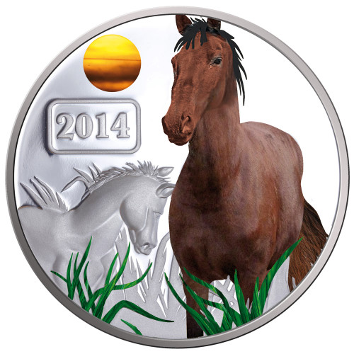 2014 Year of the Horse - Horse Family 1oz Silver Coloured Proof Tokelau Coin - Reverse