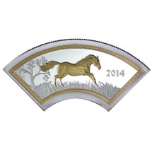 2014 Year of the Horse - Fan-Shaped Horse 15.55g Silver Gilded Proof Cook Islands Coin - Reverse