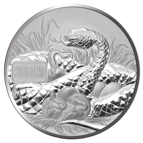2013 Year of the Snake - Snake Family 1oz Silver Reverse Proof Tokelau Coin - Reverse