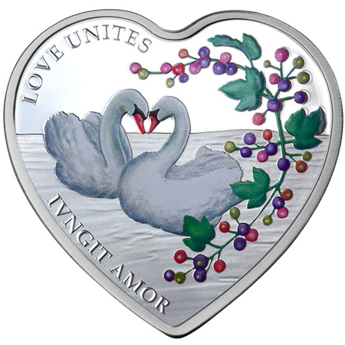 Messages of Love - 2014 Love Unites 29g Silver Heart-Shaped Coloured Proof Tokelau Coin - Reverse