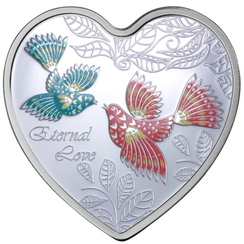 Messages of Love - 2013 Eternal Love Heart 20g Silver Heart-Shaped Coloured Proof Cook Islands Coin - Reverse