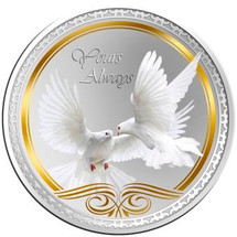 Messages of Love - 2014 Yours Always Doves Round Coloured Proof Tokelau Coin - Reverse