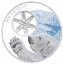 Snowflake Bear - Polar Bear 1oz Silver Coloured Proof Tokelau coin with Filigree feature from Treasures of Oz