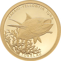 Tokelau Fish Kakahi Yellowfin Tuna 0.5g gold proof Tokelau coin from Treasures of Oz