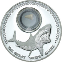 This Great White Shark coin from Tokelau contains 1oz fine silver and features a fossilised shark tooth in a capsule embedded in the coin.