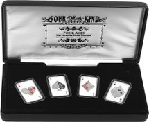 Four of a Kind - Aces Coin Set - Presentation case.  The coin tray lifts out to reveal a serially numbered certificate