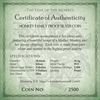 Certificate for Monkey Family 1oz Proof coin