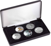 Unicorn 1oz Typeset Collection of Tokelau Coins.  Five pure silver coins in different finishes in a limited edition set.