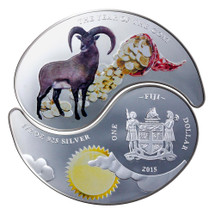 2015 Year of the Goat - Ying-Yang Goat 1oz Silver Coloured Fiji Two Coin Set - Reverse