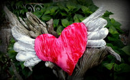 """21"""" Crushed Velvet Heart with Wings"""
