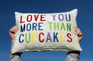 """LOVE YOU MORE THAN..."" Embroidered Ivory Crushed Velvet Throw Pillow"