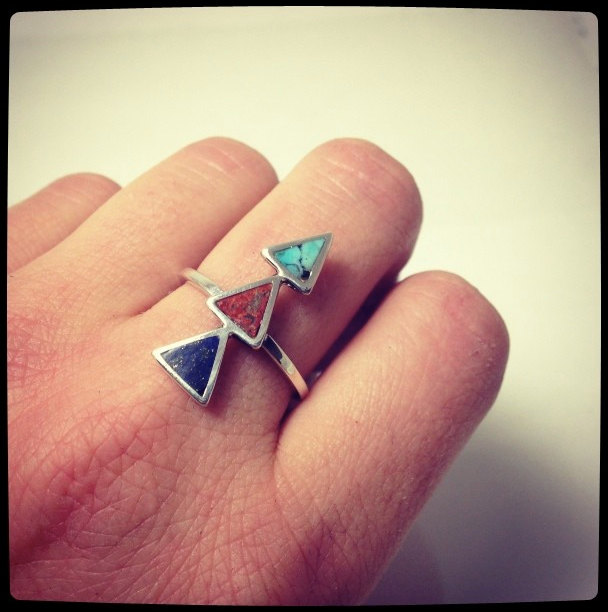 Southwest Triangle Ring with Colored Stone Inlay