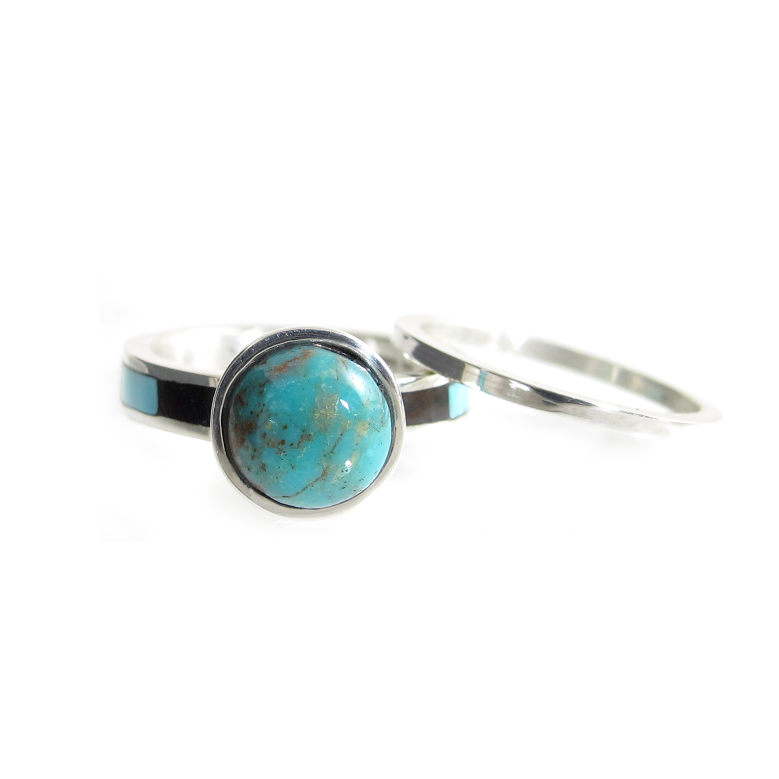 Ironwood and Turquoise Inlay Wedding Ring Set