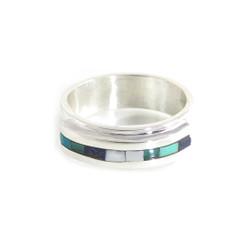 meteorite, antler, turquoise, lapis and malachite inlay ring