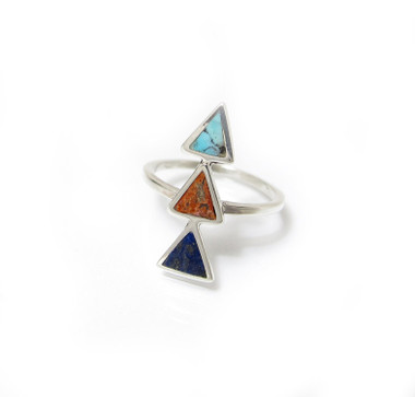 southwest triangle inlay ring with turquoise, red sponge coral and lapis