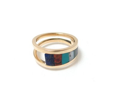 southwest style inlay ring in gold