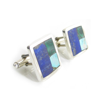 three stone inlay square cufflinks