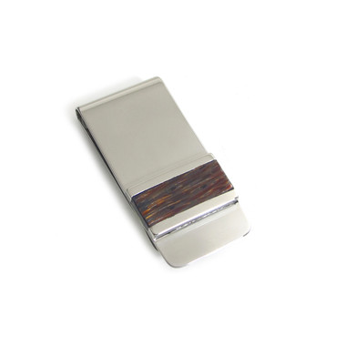 Red Palm Wood Inlay Money Clip