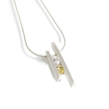two stone birthstone pendant with cubic zirconia and citrine. April and November birthstones.