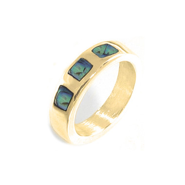 Abalone Shell and 14kt yellow gold inlay ring