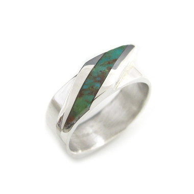 modern squared edge inlay ring silver