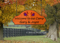 Carved Camping Sign - Rooster Graphic with Sign Holder Option - Custom Carved Family Name Sign - Wooden Camp Sign - JGWoodSigns