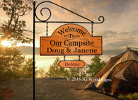 Campsite Name Sign - Welcome to our Campsite - Custom Carved Camping Family Name Sign with 1 add on with Sign Holder option JGWood Signs - Carved Wood Camping Signs