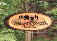 Bear and Pine Tree Personalized Wood Slab Oval with Outer Bark - Custom Carved Outdoor Name Sign with address line- Father's Day Gift