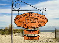 Personalized Gift  RV Sign - Name Sign 5th Wheel RV Camping Sign 2 addons- with optional Round Garden Holder - JGWoodSigns - Wood Sign