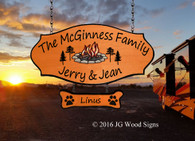 Wood Camping Sign Colored Campfire Pine Graphic with one addon  - Custom Carved Happy Campers Sign -  Custom Wood Sign JG Wood Signs Personalized Wood Sign