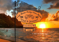 Sunset Adirondack chairs Graphic - Extra Wide Custom Carved Sign - Family Name with XL Sign Holder Option