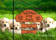 Custom Carved Wooden Family Name Sign - Welcome To Our Camp - Dog Graphic. Sign Holder Option
