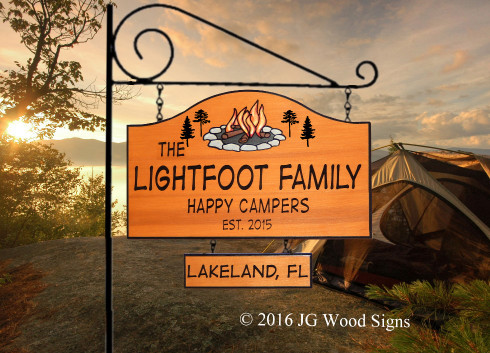 Digital Strip font.  Campfire Pine graphic.