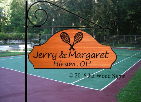 Segoe Print font.  Tennis Racket graphic.