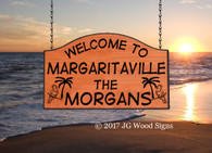 Margaritaville Camp Sign -  Personalized Camping Sign Parrot Palm -  Carved Wood Camping Signs - Christmas for hard to buy present - with sign holder option JG Wood Signs Family Camping Sign