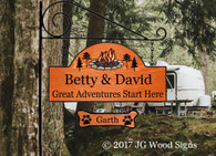 Family Name Sign - Great Adventures Start Here Campfire Pine Graphic - Custom Carved  Family Name Sign - Dad Gift - JGWoodSigns - Custom Camping Sign