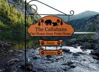 Bear Cabin Sign Family Name Sign - Bear Pine  - RV Camping Sign with sign holder option JGWoodSigns  Personalized Camp Sign