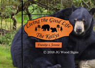 Bear Custom Cabin Sign Camp Sign - RV  - Name Sign with sign holder option - JGWoodSigns - Personalized RV Sign