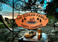 Personalized Gift RV Sign - Colored Campfire Graphic with pine trees - Wood Sign Camping Sign  - Dad Gift - JG Wood Signs Etsy -  Outdoor Sign