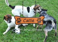Custom Camp Sign Pet Name - Dog bone Addon - Wooden Name Sign - Dog bone with Pawprints - JGWoodSigns - Personalized Sign