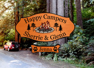 Personalized RV Sign - Colored Campfire Graphic with pine trees - Wood Camping Sign  - Dad Gift - JG Wood Signs - RV Outdoor Sign